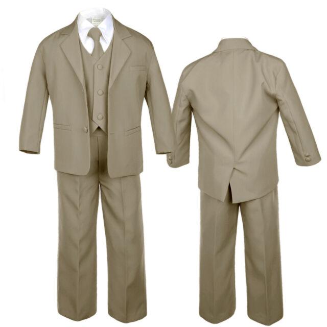 Babys Toddler Kids Boys Formal Wedding Dark Khaki Taupe Suits Vest 5pc Sets S-20