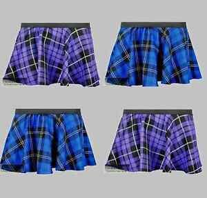 New Girls Children Circular Tartan Check Elasticated Skirt