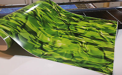 "CAMOUFLAGE VINYL DECAL 48"" x 15"" TRUCK CAMO TREE PRINT DUCK CAMO LIME"