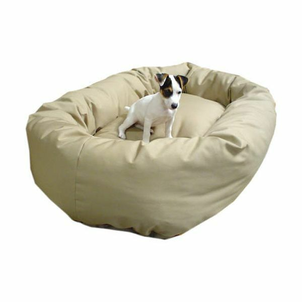 Khaki - Donut Bagel Animal Pet Dog Bed - 52  Extra Large 360° Bolster Cushion