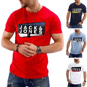 Jack-amp-Jones-T-Shirt-Hommes-Print-Shirt-Manches-Courtes-Shirt-Short-Manche-Casual-Top