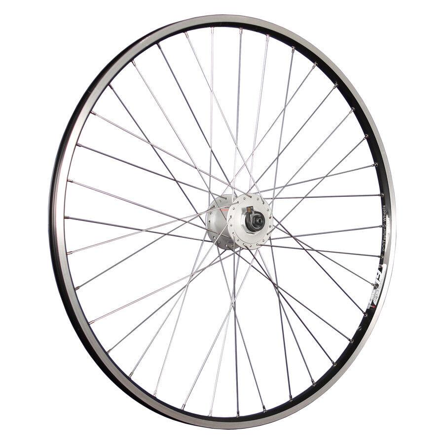 Taylor Wheels 28 pollici ruota anteriore bici ZAC19 mozzo dinamo DHC3000 nero