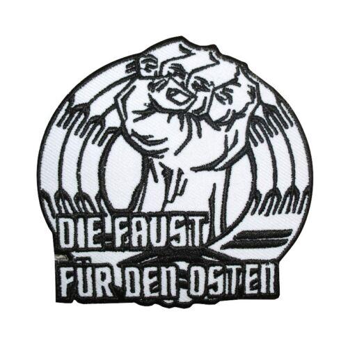 Bügel Aufnäher Aufbügler Die Faust für den Osten biker ostdeutschland ddr ossi