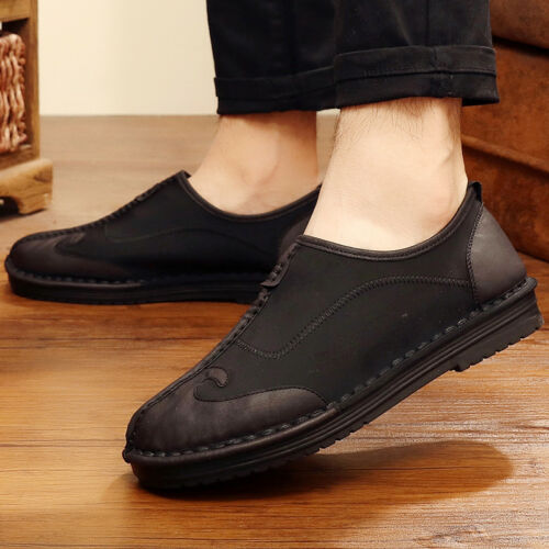 Retro Chinese Style Kung Fu Men/'s Shoes Flat Embroidery Casual Comfort Pull On