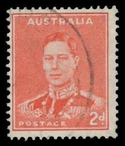 King-George-VI-1937-49-Definitives-Perf-15x14-2d-scarlet-with-Medallion-Flaw