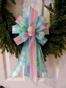 Bunny Wreath with Blue Bow