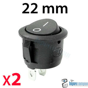 2x Commutateurs Panneau Rond Noir 22mm Encastrés On / Off 220v 125v Enpgw13e-07231152-351867676