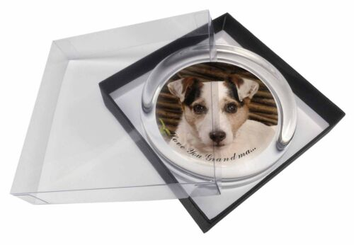 Jack Russell 'Love You Grandma' Glass Paperweight in Gift Box Chri, ADJR56lygPW