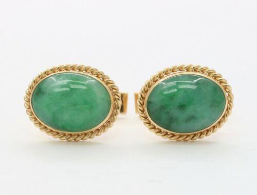 Vintage Jadeite 1960s Gold Tone Oval Cuff Links 60s Jade Green Glass Cufflinks Men/'s Gift