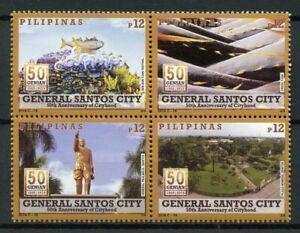 Filippine-2018-Gomma-integra-non-linguellato-GENERAL-Santos-CITY-4v-Blocco-TURISMO-paesaggi