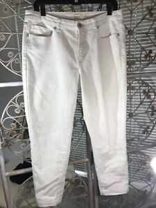 Coldwater-Creek-Women-s-White-Skinny-Stretch-Mid-rise-Ankle-Crop-Jeans-Size-12