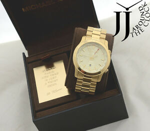 New michael kors runway gold tone gmt world map watch oversize image is loading new michael kors runway gold tone gmt world gumiabroncs Choice Image