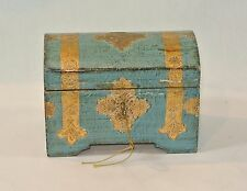 Vintage FLORENTINE GILT Italian Wood Toleware DOMED TRUNK Chest Box with Key