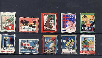 USA CINDERELLA Stamps: CHRISTMAS HEALTH STAMPS 1930 - 1935 - 1938 to 1945 Mint