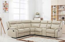 Classic Large Bonded Leather Reclining Corner Sectional Sofa - Beige
