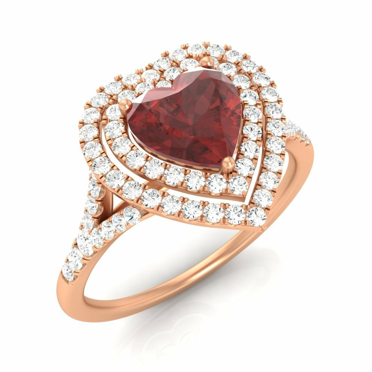 1.48 CT SOLID 14K pink gold STUNNING HEART-CUT NATURAL GARNET & SI DIAMOND RING