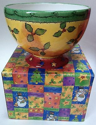 Sango The Sweet Shoppe Christmas Footed Candy Bowl Sue Zipkin Holly Berries