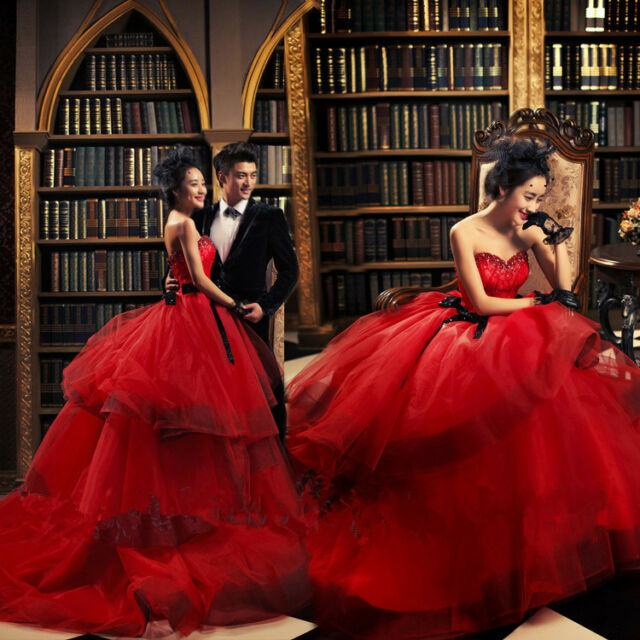 NEW Red Sweetheart Train Wedding Dress Quinceanera Formal Prom Pageant Ball Gown