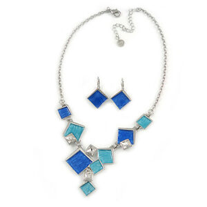 Avant Garde Blue Enamel Geometric Square Station, Clear Crystal Necklace and