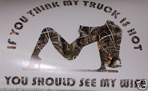TRUCK Hot Wife Real Tree M CAMO Window Decal F F F Ram - Chevy windshield decals trucks
