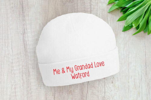 Watford Me and My Grandad Love Baby Beanie Hat Red Text Gift Baby