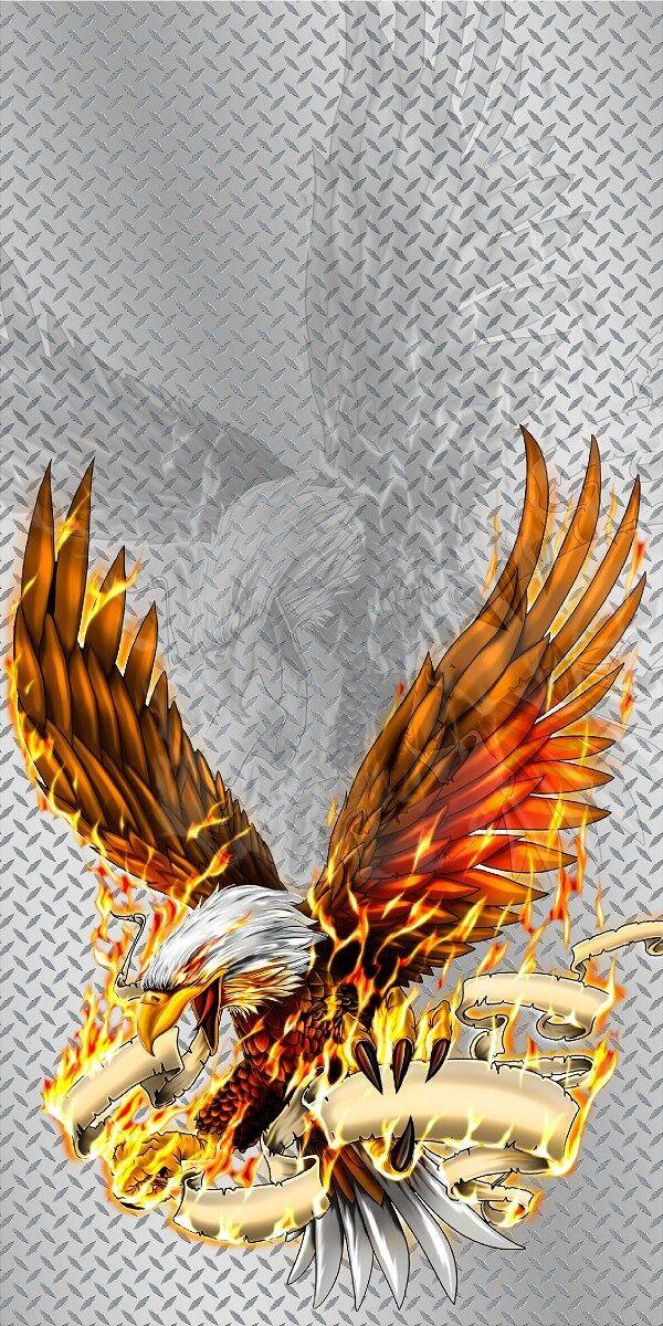 Flaming fire eagle diamond plate cornhole game wraps set