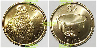 Fiji 2 dollars 2012-2014 eagle 25mm copper steel coin km337 UNC