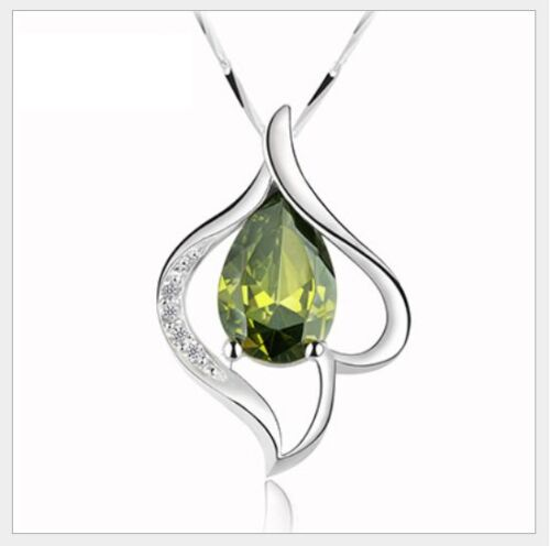 """18/"""" 925 Sterling Silver Olive Micro Pave Crystal Heart Love Pendant Necklace A23"""