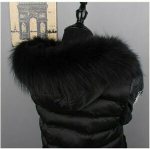 Top-Quality-Real-Raccoon-Fur-Collar-Hood-Trimming-Scarf-Black-70-14cm-28X6-034-US