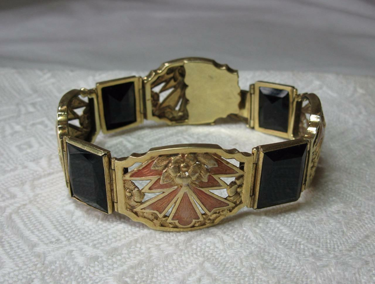 Art Nouveau Bracciale 14k oro Smalto Onice Onice Onice Nera Belle Epoque Museum Qualità Raro bb94a4