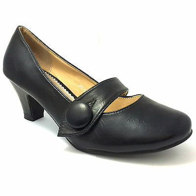 Señoras Mid bloque Taco Moda Mary Jane Casual Oficina de Trabajo Pump Zapatos Tenis F175