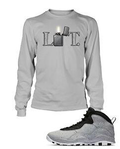 b754b8ddccca07 Lit Tee Shirt to Match Air Jordan 10 Retro Light Smoke Graphic T Big ...