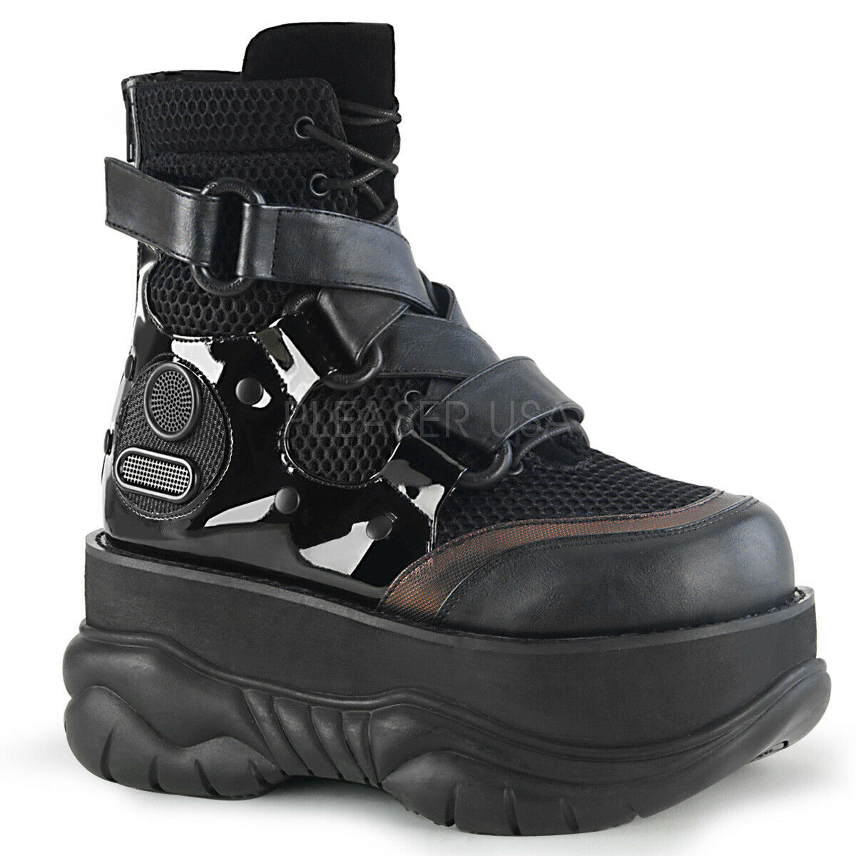 Cyber Punk Goth De Malla Negra Plataforma Tenis botas Mujer Demonia Neptune - 126