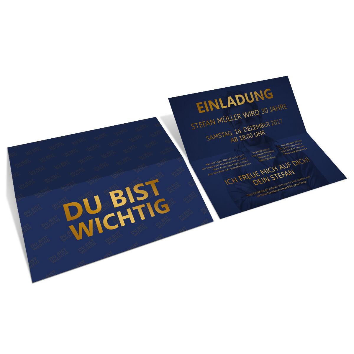 Einladungskarten Geburtstag - Du bist wichtig - Einladungen Klappkarte   | Discount  | Gutes Design