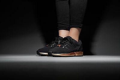 Womens Adidas ZX Flux Black Copper Rose Gold Metallic NMD Medal S78977 Size 6-10