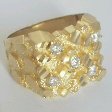 .50 Carat Big Man's solid 10k yellow Gold Nugget Ring Diamond cut S 10