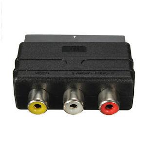 SCART-Stecker-auf-3-Cinch-Buchse-A-V-Audio-Video-Adapter-Konverter-fuer-TV-SH