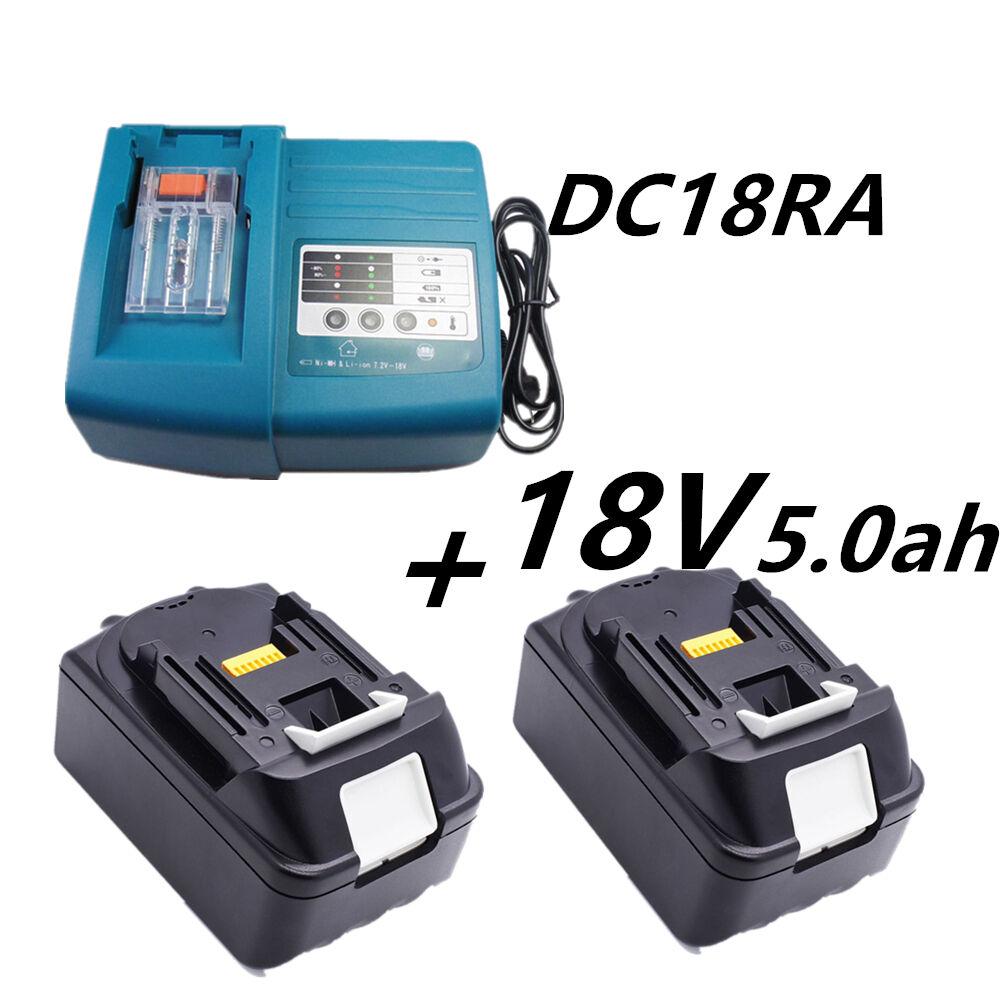 2X Makita 5.0Ah 18V Ersatzakku BL1830 BL1850 Li-ion 5AH+Ladegerät DC18RA DC18RC