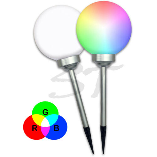 Weiß// RGB LED Solar Leuchtkugel Solar Kugel Leuchte Licht Solar Erdspieß Ø 20 cm