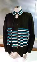 Twinset Exclusively Misook Acrylic Black Teal White Striped Ribbed Jacket/Top XS