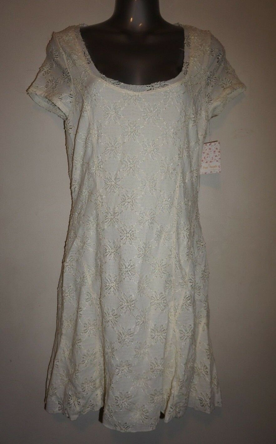 Free People cream color floral lace short sleeve dress size L NWT  128
