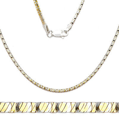 Italy Sterling Silver /& 14k Yellow Gold 1mm Snake Link Italian Chain Necklace