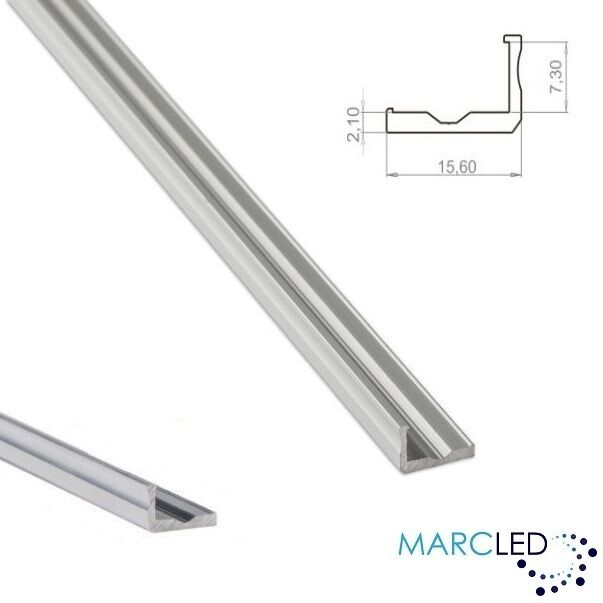 L1 aluminium l-shape heat sink (profile) for LED strips, anodized silver, 1m