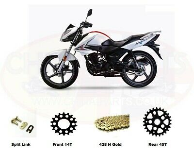 Sinnis ST125 JS125-6B Heavy Duty Chain and Sprocket Kit GOLD