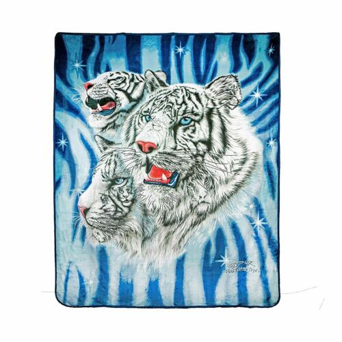 JPI Signature Collection 9 White Tigers Queen Size Soft Plush Flannel Blanket