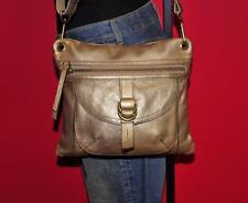 FOSSIL Gold Metallic Smaller SASHA Satchel Convertible Slim Tote Pouch Purse Bag