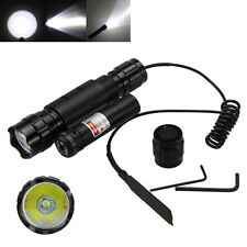 6000LM T6 LED Flashlight Torch Tactical Light Gun Switch+Red Laser Dot Sight