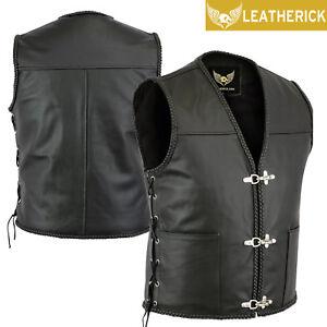 Fish-Hook-Buckle-Motorcycle-Biker-Genuine-Real-Leather-Waistcoat-Vest-for-Men