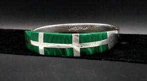Vintage-Taxco-Sterling-Silver-Cuff-Bracelet-Malachite-Hinged-Cuff-Bracelet