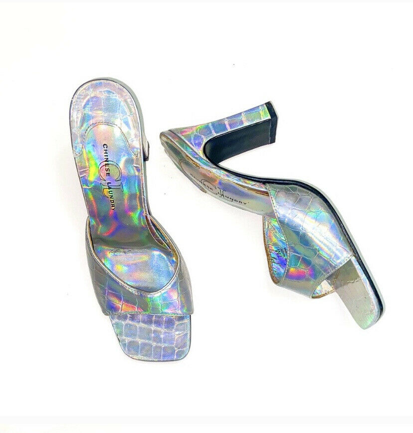 y2k 90s square toe iridescent mules - size 7 - image 1